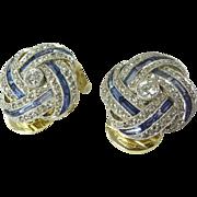 Fabulous Art Deco Diamond Sapphire Platinum & 14kt Gold Knot Motif Earclips