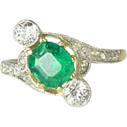 Magnificent Edwardian Natural Emerald, Diamond, Platinum & 14kt Gold Ring