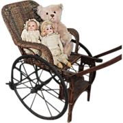 1900's Antique French Children's Toy Carriage pull-toy