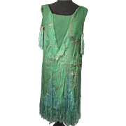 1920's French Silk Flapper Dress with Fringes original Mannequin Great Gatsby