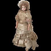SOLD 19th. Century Wax Fashion Doll Mannequin Silk Bustle Dress