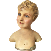 1900's French Wax Child Bust Head Display Mannequin Doll