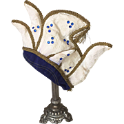 Vintage Carnival Jester Hat Gold Thread Mannequin Head