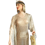 1920's Assuit Dress and Shawl Flapper Art Deco Mannequin Gold Lame