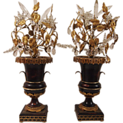 French Tole & Crystal Lamps, Pair