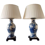 Pair of 19th Century Chinese Blue and White Lamps