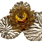 """Stuart Devlin Sterling Silver and Gold Vermeil """"Lily Pad"""" Candle Holder"""