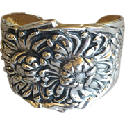 "Sterling Silver ""Repousse"" Chrysanthemum Cuff Bracelet By Galmer"