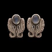 Georg Jensen Sterling Silver Moonstone Earrings No. 108