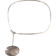Georg Jensen Sterling Silver Neck Ring No. 173 With Rutilated Quartz Drop No. 173 By ...