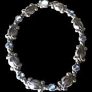 Georg Jensen Vintage Sterling Silver Necklace No. 15 with Moonstones