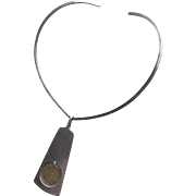 Hans Hansen Sterling Silver Pendant with Gold Vermeil on Sterling Silver Neckring
