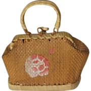 Antique French Fashion Straw Valise, Purse