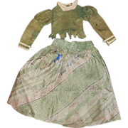 Antique Apple Green Silk Dress for Bisque, China Doll