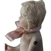 Miniature Antique Bonnet for Doll House Bisque, China Doll