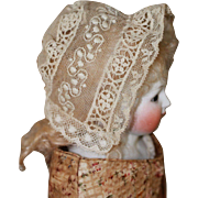 Delicate Antique Lace Bonnet for French Fashion, China Dolls