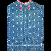 Pristine early 1900s Indigo Calico Dress for LargerBisque or Schoenhut Dolls