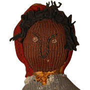 Hand Knit Charming Young Girl Black Doll Antique Cloth Doll
