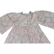 Old Pink and White Calico on Corduroy Dress For China, Bisque Dolls