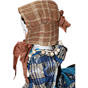 Early Antique Wool Bonnet for Anitque China, Cloth Dolls