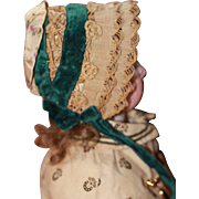 Antique Silk and Straw Bonnet for French  Fashion or China Doll