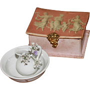 Lovely Old Pink Box and Bowl and Pitcher for Antique China, French Fashion Dolls