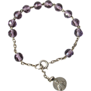 Vintage Art Deco French Solid Silver and Amethyst Rosary Bracelet