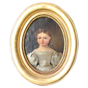 Antique French Oil Painting Portrait of a Young Lady 19th Century