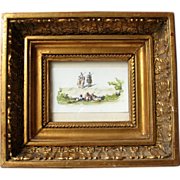 Antique French Watercolor Painting Miniature Soldiers Orientalist 19th Century