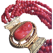 Antique French Georgian Red Coral and 18K Gold Bracelet with Carved Woman Cameo Clasp Early ..