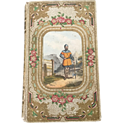 French Romantic Binding Embossed Book 1857 with Color Lithograph