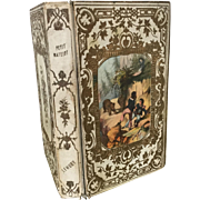 French Romantic Binding Embossed Book 1853 with Color Lithograph