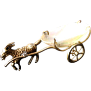 Antique French Victorian Palais Royal Mother of Pearl Egg Cart & Ormolu Goat For Wedding