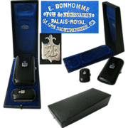 Superb Antique French Cigars & Matches Cases, Necessaire in Original Presentation Case Palais
