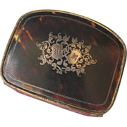 Finest Antique French Faux Tortoise Shell Coin Purse with Silver Monogram FR