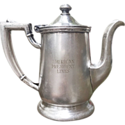 SOLD Vintage 1961 Vintage Silver Plate Tea Pot from an American President Lines Ship