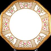 12 Cauldon England Hexagonal Gold Encrusted Floral Plates