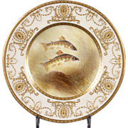 12 Royal Doulton Hand-Painted Gold Encrusted Fish Plates: signed G. Birbeck