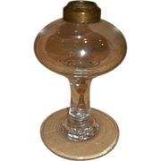 """19th Century Hand Blown Glass Oil Lamp - Pedestal & Font Attached """"Glass Wafer"""""""