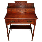 SOLD Beautiful 19th century Antique Victorian / Eastlake Solid Oak Ladies Slant Top  Writing .