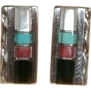Vintage Pair Sterling Silver ZUNI Inlaid Bar Earrings w/ Posts - Sterling Silver, Jet, Coral,