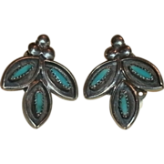 REDUCED Vintage Pair Native American ZUNI Sterling & Turquoise Clip Earrings - 5.2 grams