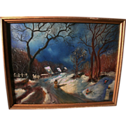 REDUCED Beautiful Mixed Medium Painting Russian Village Winter Scene by Igor Soben 1981