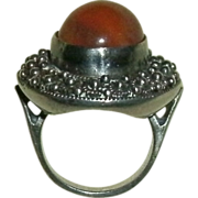 REDUCED Vintage Beaded Sterling Silver Ring w/ Round Cabochon Peach Moonstone - 10.4 grams - .