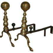 SOLD Pair of Early 19th Century American Brass Cannon Ball Andirons with Slipper Feet - Comple