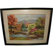 Vintage Fall Landscape Scene Painting - Gouache / Pastel (mixed media) on paper - Fall Foliage