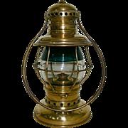 SOLD Exceptional & Rare 19th Century Brass Conductor's Railroad Lantern with Rare 2 Color Gree