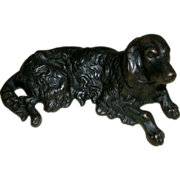 SOLD Antique Cast Iron Spaniel / Setter Dog Doorstop / Paper Weight - Nice Detail