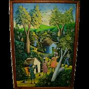 SOLD Vintage Mid Century Modern Vibrant Colorful Oil On Canvas Haitian Market Landscsape ...