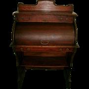 SOLD American Victorian Solid Oak Rolltop / Barrel Top Ladies Desk / Child's Desk - Original F